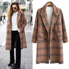 ZOGAA 2019 Autumn Winter Female Woolen Coat Loose Long Female Tartan Woolen Coat plus Size long wool coat women female jacket цена