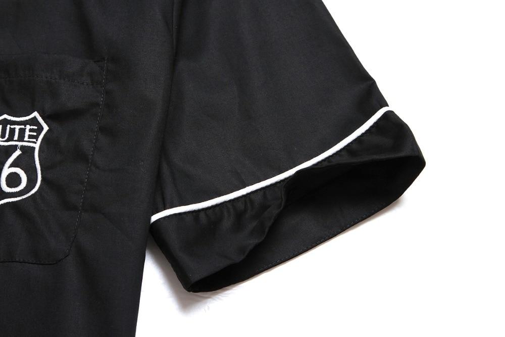 Top-Markenhemd aus Baumwolle im neuen Stil mit Stickerei Rockabilly - Herrenbekleidung - Foto 4