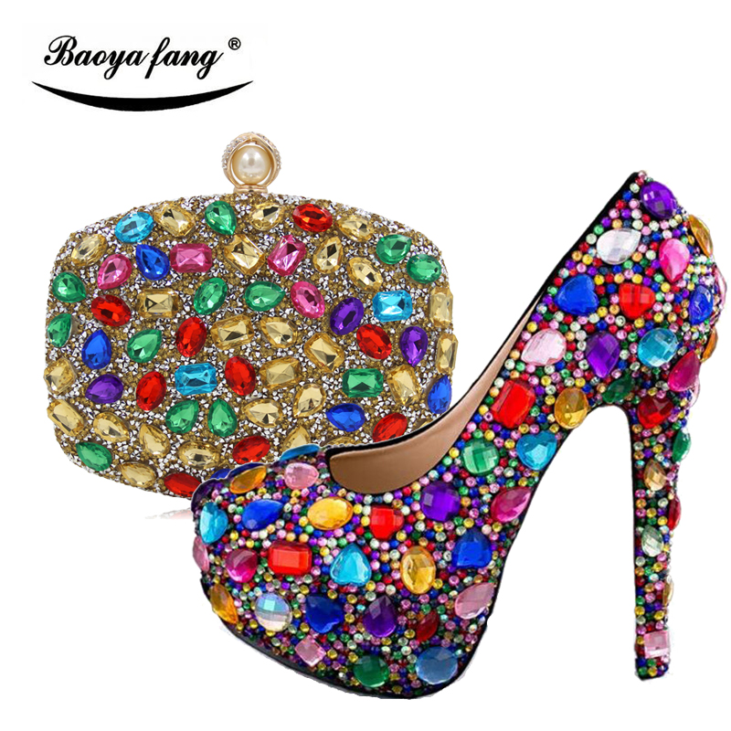 Women wedding shoes with matching bags Multicolored Crystal High heels platform shoes Ladies Paty Dress shoes women Pumps women wedding shoes with matching bags yellow pearl bride party dress shoe and bag set high heels platform shoes ladies shoes