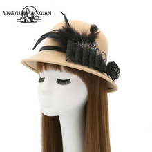 BINGYUANHAOXUAN Elegant Women Fedora Hats Felt Wool With Belt Bowknot Imitation Candy Caps Autumn Winter High Quality