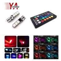 2pcs Multi Color 5050 SMD RGB LED T10 194 168 W5W Car Interior Fancy Dome Read