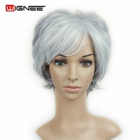Wignee Natural Curly Short Bob Classic Women Hair Wigs High Temperature Synthetic Hair Mixed Color Sliver Grey Summer Hair Wigs
