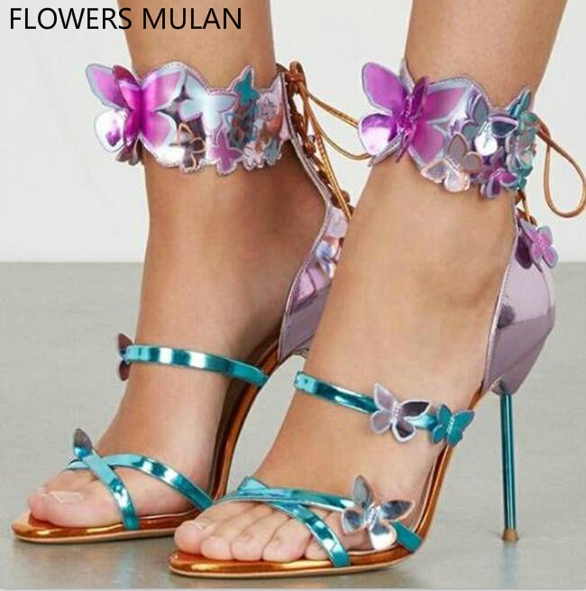 Hot Selling Women Fashion Open Toe Lace-up Butterfly Design High Heel Sandals Stiletto Heel Dress Sandals Beautiful Shoes Woman hot selling pleated bling woman sandals fashion high heel slipper open toe slide dress sandals concise comfortable sandals