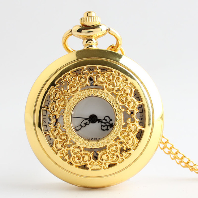 Luxury Gold Hollow Pocket watch Vintage Pendant Watch Necklace Chain Antique Skl