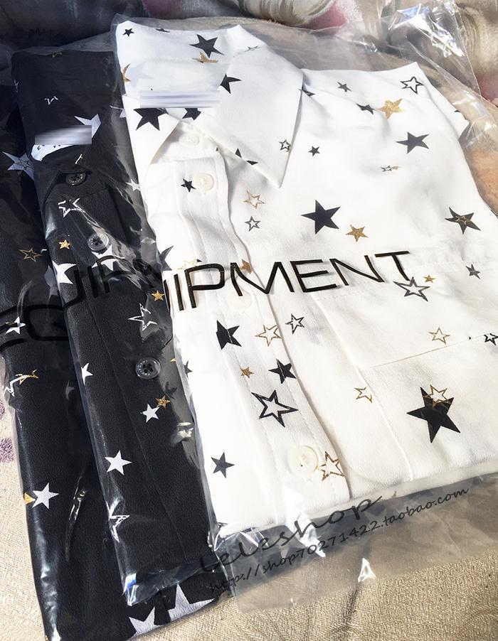 D'or Poches Dames Soie Étoile Femme Longues 100 Chemises Dorure Timbre Eq Chemisiers Deux Manches 4q1E7wv7dx