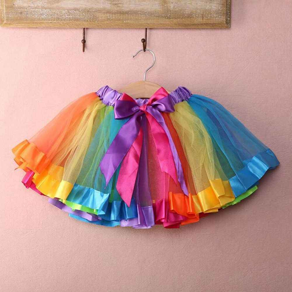 Ziemlich multicolor regenbogen rock net tanzen ballett-kostüm dress party rock kinder halbkörper rock performance rock zubehör