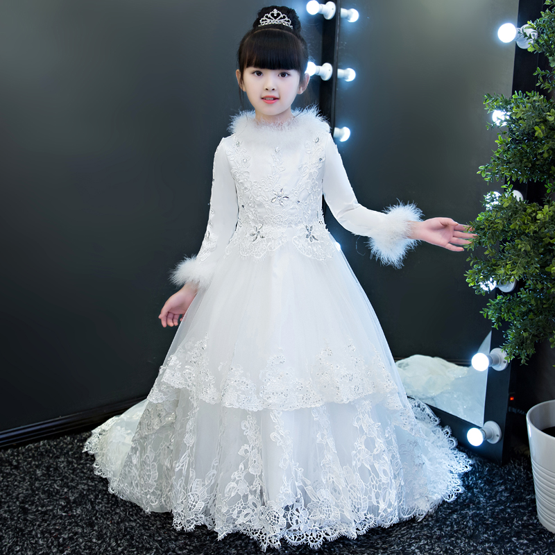 2018 New Arrival Children Girls Luxury White Color Princess Wedding Birthday Party Long Trailing Dress Kids Lace Pageant Dress