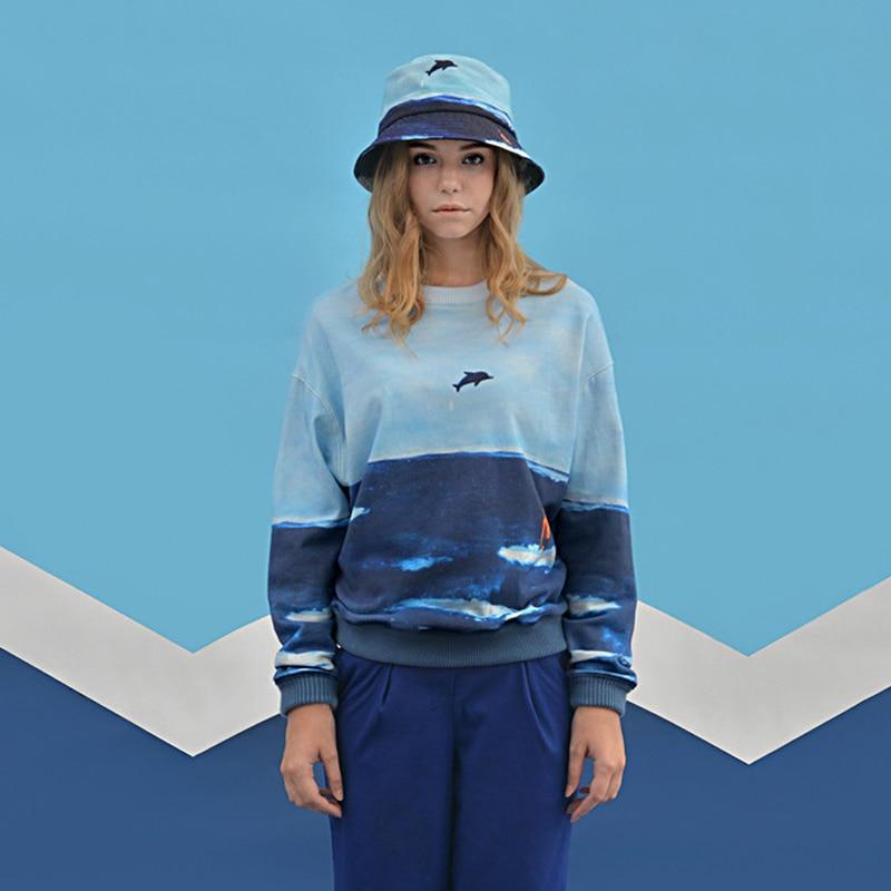 2018 Spring New Original Design Women Sweatshirts Space Cotton Scene Printed Female Pullovers Hoodies Tracksuits Long