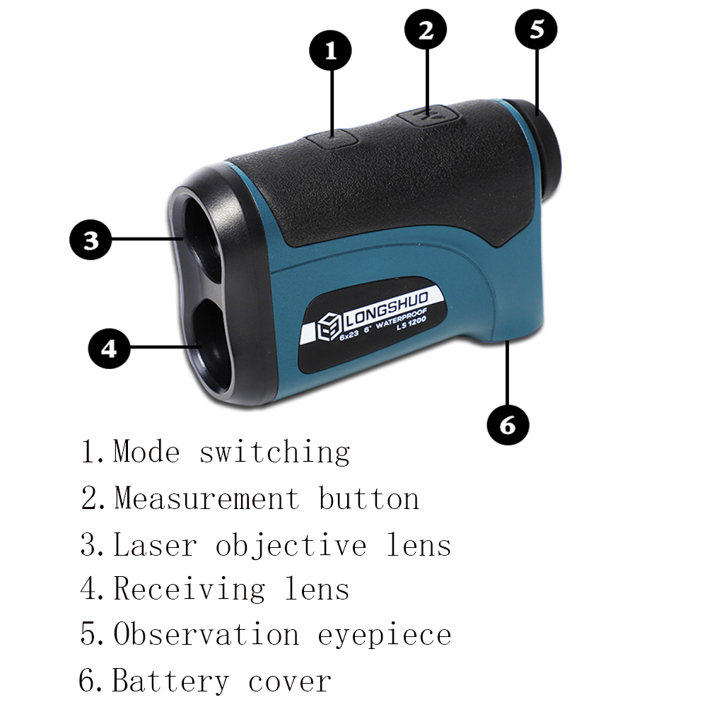 Laser 800m-1200m Rangefinder with LCD Display and Golf Slope Adjustment Mode for Sports 4
