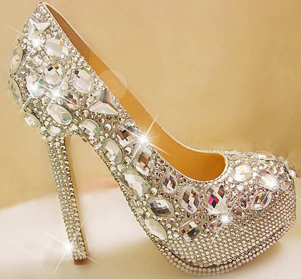 Handmade crystal wedding shoes high heels silver rhinestone bride ...