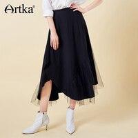ARTKA 2019 Spring Summer Mesh Black Skirt For Women All Match Fashion Long A line Skirt Lady Top Quality Cotton Skirts ZA15096C