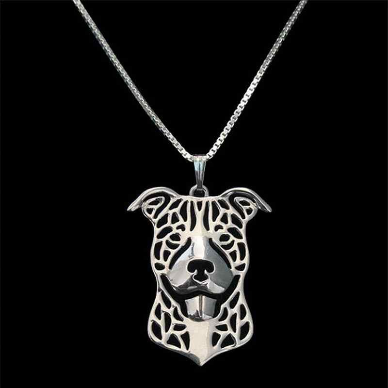 2019 Fashion Lovers' Alloy Pet Dog Necklaces Women's Silver Plated Pitbull Pendant Necklaces Drop Shipping
