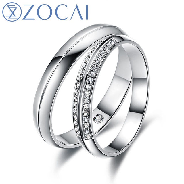 ZOCAI Happiness Real 0.15 CT Certified H /SI Diamond His and Hers Wedding Ring Sets 18K White Gold (Au750) Q00136AB