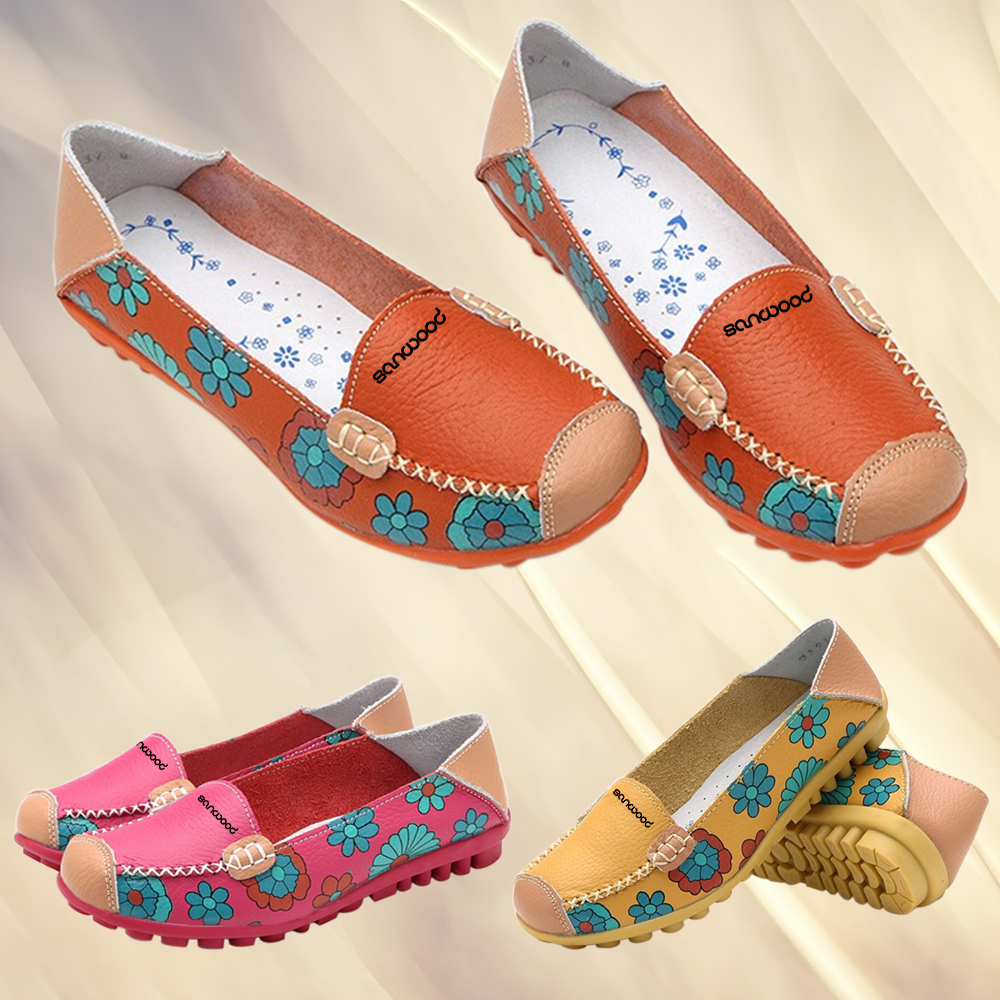 New Hot Fashion Women Faux Leather Flat Heel Casual Flower Pattern Loafer Round Toe Boat Shoes