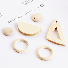 DIY handmade jewelry accessories wood color Triangle Earrings Earring Pendant Earrings Ring semicircle wafer