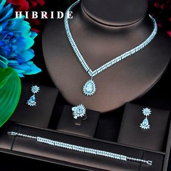 HIBRIDE Luxury Water Drop Cubic Zircon Jewelry Sets For Women Wedding Necklace Earring Ring Bracelet Jewelry Accessories N-752
