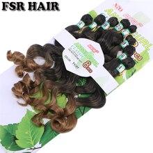 Волосы для наращивания FSR, 8 шт./Лот, синтетические волосы, плетеные волосы с эффектом омбре для женщин
