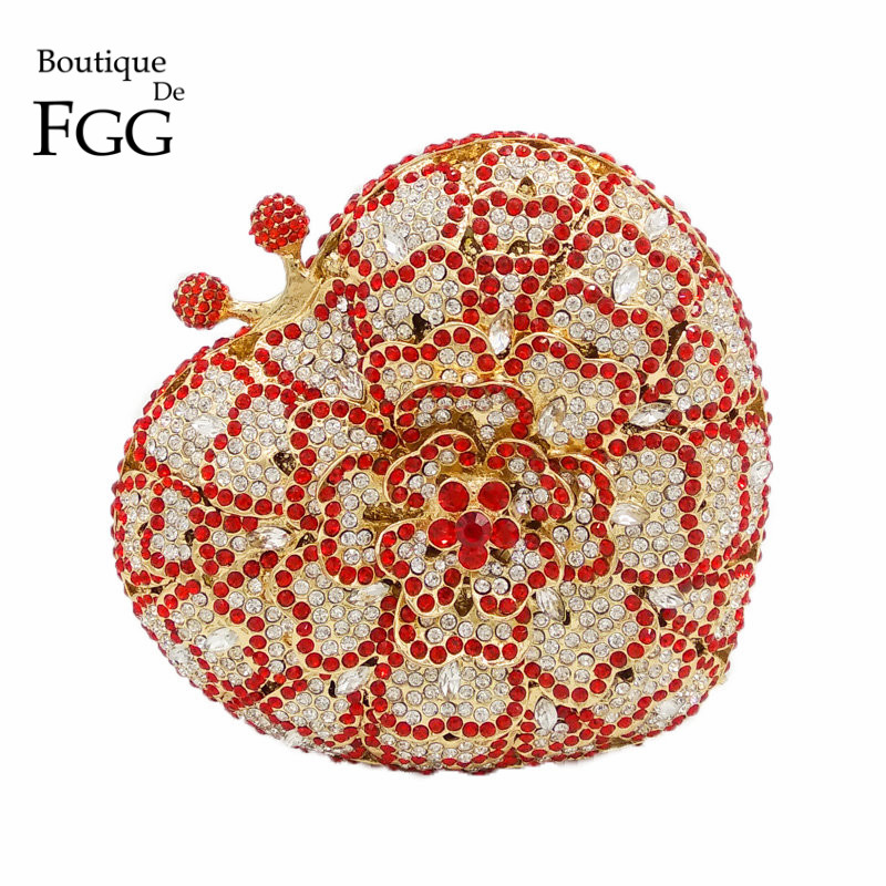 Dazzling Hollow Out Heart Flower Women Red Crystal Evening Bags Clutches Bridal Diamonds Wedding Clutch Handbags Party Purse gold plating floral flower hollow out dazzling crystal women bag luxury brand clutches diamonds wedding evening clutch purse