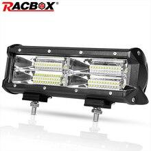 цена на 12V 24V Headlight Lamp 10''144W Light Bar Fog Tri-row Flood Beam For Car Truck 4WD Off Road UTV Boat LED Driving Extra WorkLamp