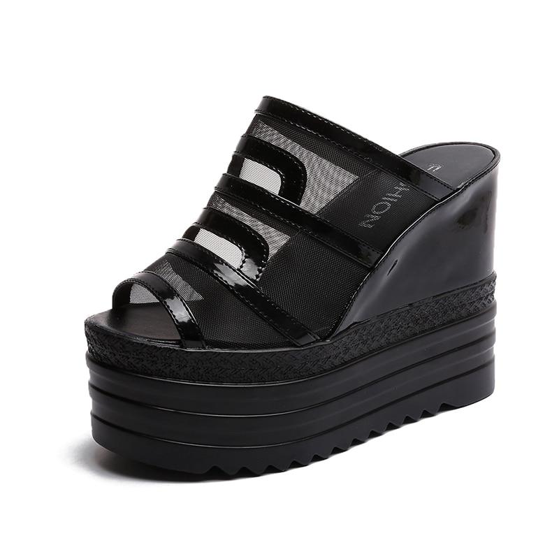 Wedge Sandals Women High Heels Platform Summer Ladies Shoes Transparent Flip Flops Women Sandals Mesh Peep Toe Wedge Sandals