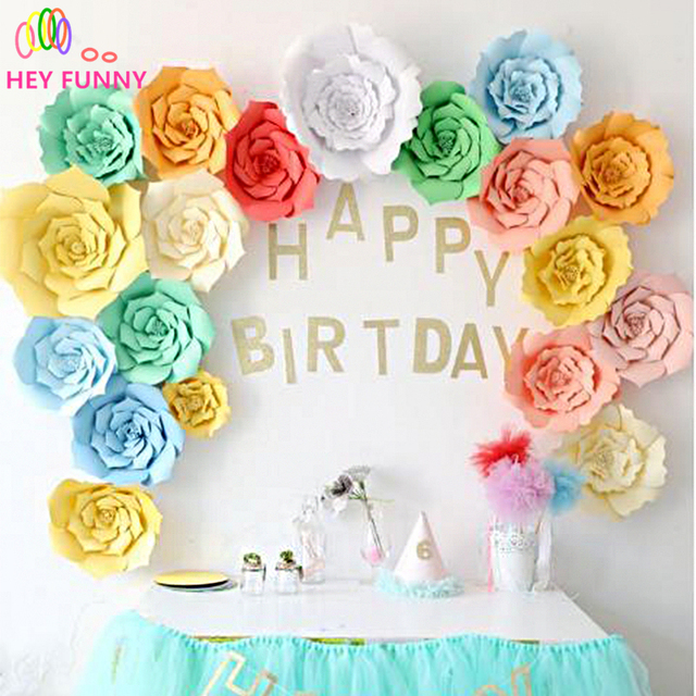 HEY FUNNY 2pcs 20cm DIY Paper Flowers Backdrop Decor Hen Party Kids Birthday Wedding