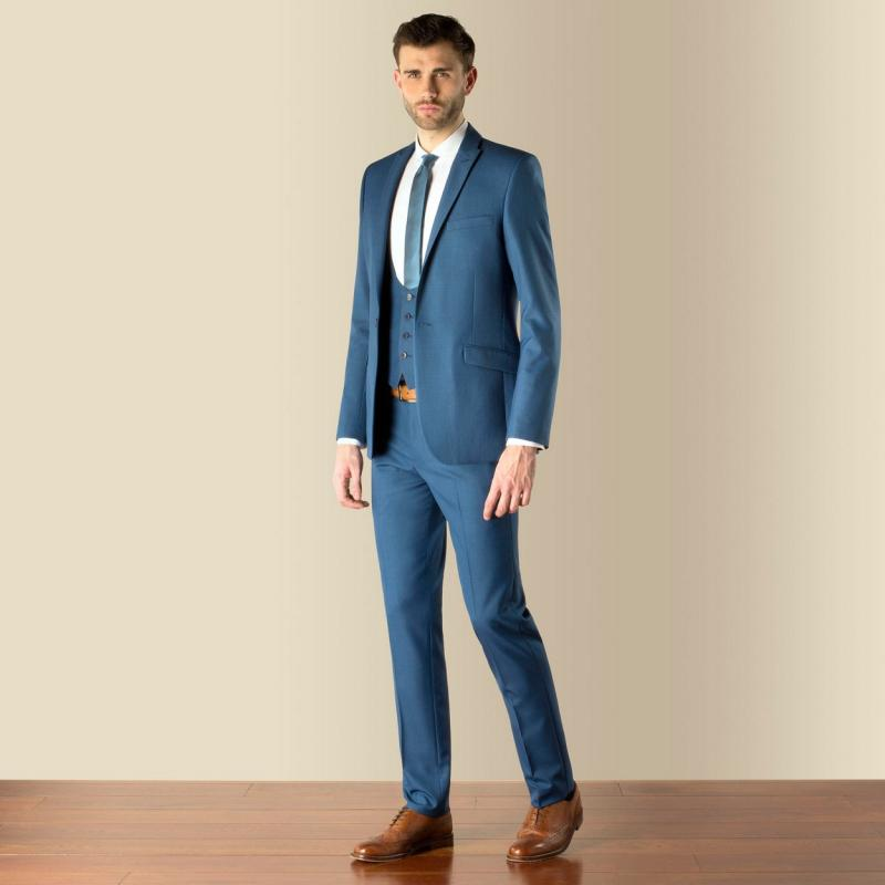 2017 Latest Coat Pant Designs Blue Men Suit Formal Skinny Simple ...