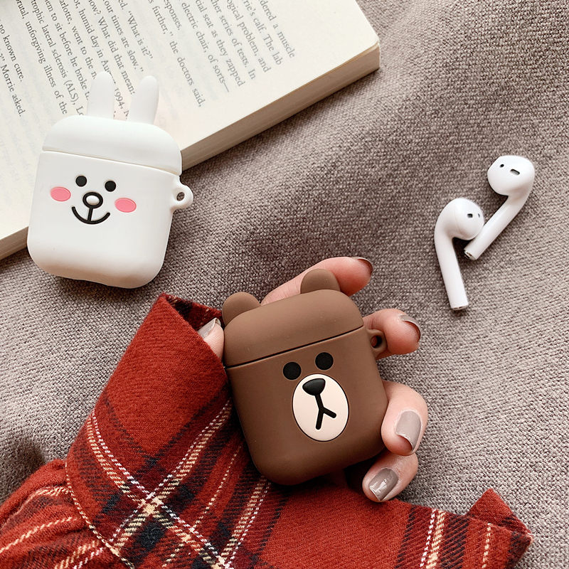 Super Cute Luxury Ins Korea Trf Blush Expression Keychain Silicone Earphone Case For Airpods 1 2 Wireless Bluetooth Headset Bag Portable Audio & Video Earphone Accessories