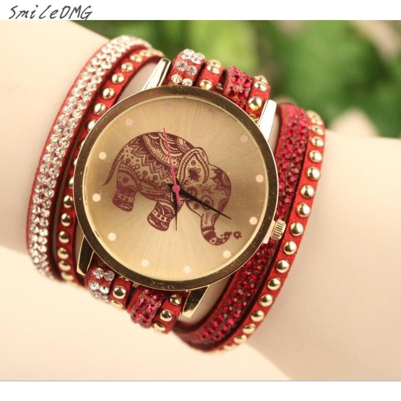 SmileOMG Hot Sale New Women's Fashion Velvet Diamond Bracelet Watch Ladies Watches High Elephant Pattern Free Shipping,Sep 2