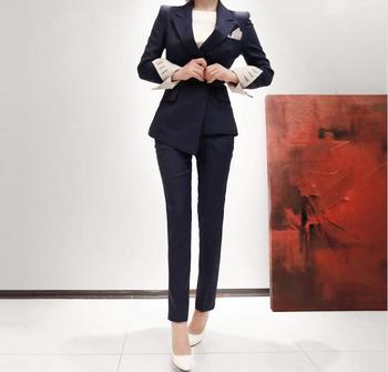 2 Pieces Set Autumn Business Plaid Formal Asymmetric Suits Women Work Office Long Sleeve Bandage Nine Pants Womens Vestidos  1