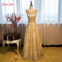 TaooZor Luxury Bling Golden Sequined Satin A Line Evening Dresses 2017 Classic Belt Fast Shipping Vestidos Dresses Formal Gown