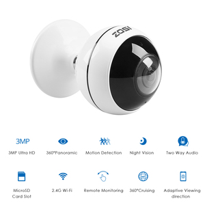 Image 2 - ZOSI Wireless IP Camera WiFi Panoramic Fisheye Video Surveillance Camera 3MP Ultra HD 360 Full Degree View Angel VR CCTV Camera