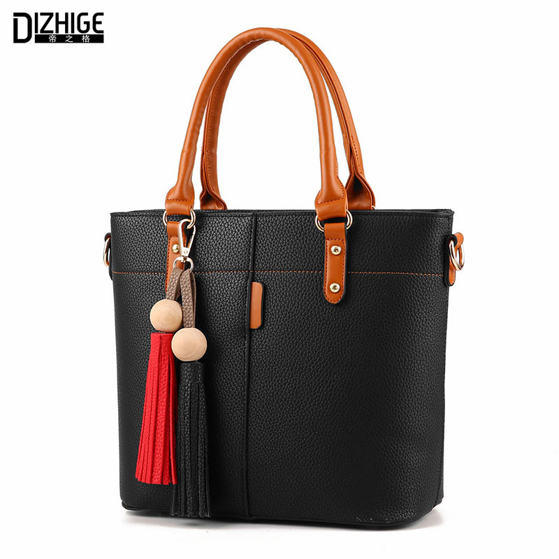 DIZHIGE Brand Fashion Tassel Shoulder Bag High Quality PU Leather Bags Women Handbags Designer Ladies Hand Bags Luxury Sac 2016 dizhige brand 2017 fashion thread crossbody bags plaid pu leather bags women handbags designer shoulder bags ladies sac spring