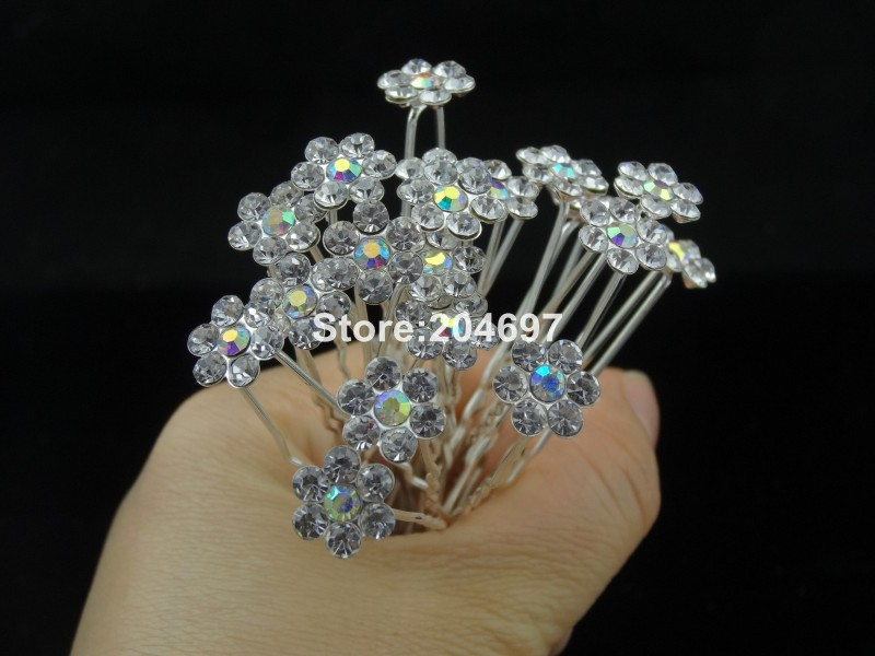 Feelgood 200pcs lot Popular AB Crystal Flower Hair Pin Fashion Wedding  Bridal Hair Jewelry Hair Accessories Wholesale-in Hair Jewelry from Jewelry  ... 8823f2673140