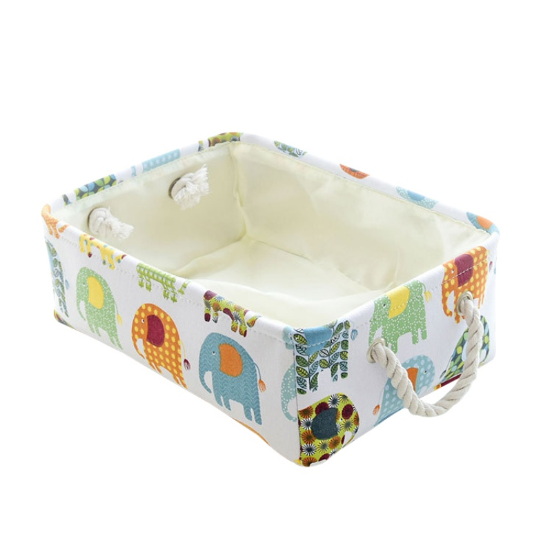 Cute Elephant Pattern Book Clothes Socks Basket Sundry Finishing Cloth Art Collection