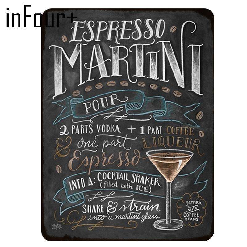 Wall Decorative Sign Cocktail 12 x 8 How To Make A Classic Martini Retro Embossed Metal Tin Sign