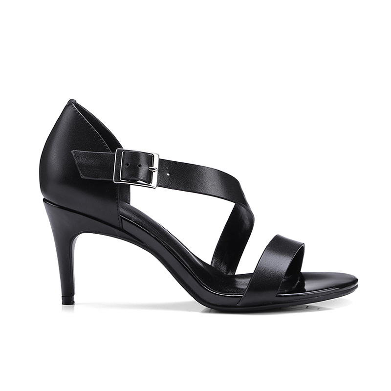 Fino Doratasia De Correa Cuero Sandalias Simple Genuino Tacones Verano Altos Hebilla Zapatos Cruzada Vaca Metal Mujer Negro BAYBw1