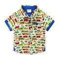 Хлопка младенца Автомобилей рубашка с короткими рукавами 2016 летом новой детской одежды Корейский мальчик ребенок Печатных рубашку