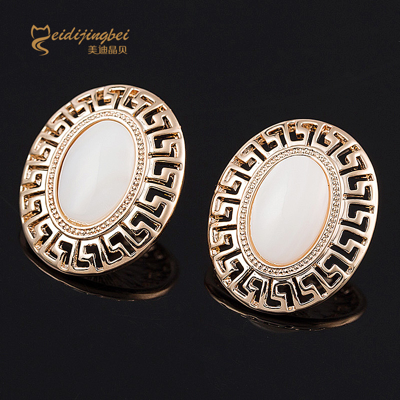 Oval opal stud earrings for women antique silver/bronze/gold color zinc alloy female earring girls ear jewelry brincos MDJB063