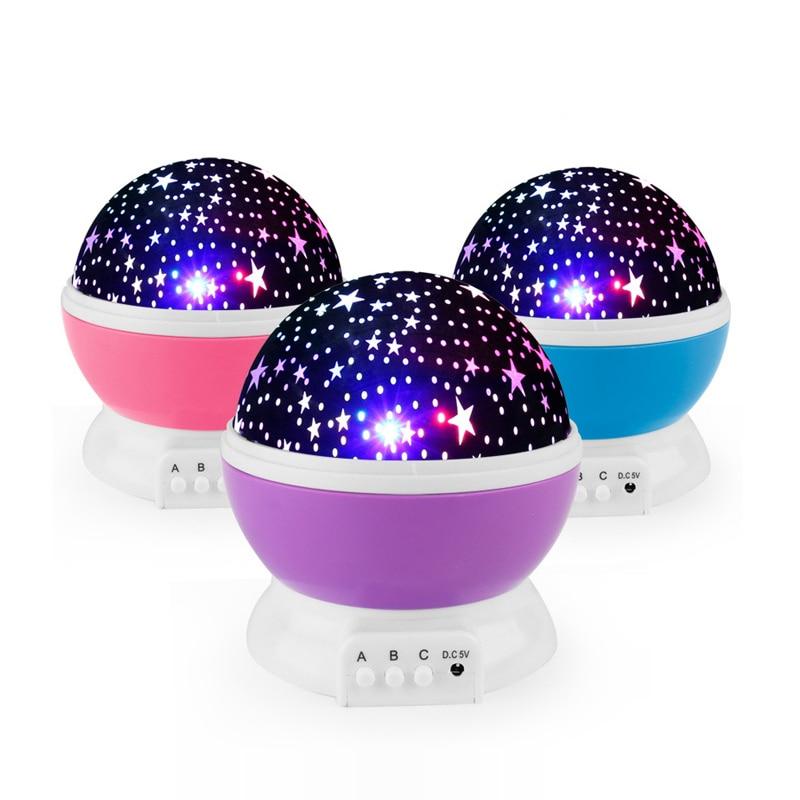2019 LED Rotierenden Stern Projektor Mond Sterne Fantasie Bunte Romantische Stern Lampe Nacht Beschwichtigen Baby Schlaf Gypsophila Glowing Spielzeug