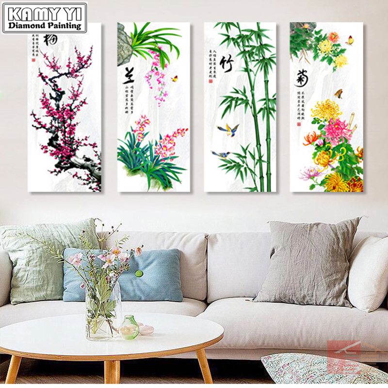New 5D DIY Diamond Painting Plum Orchid Bamboo Chrysanthemum Diamond Embroidery For Chinese Gift Home Decor Four Paintings YYNew 5D DIY Diamond Painting Plum Orchid Bamboo Chrysanthemum Diamond Embroidery For Chinese Gift Home Decor Four Paintings YY