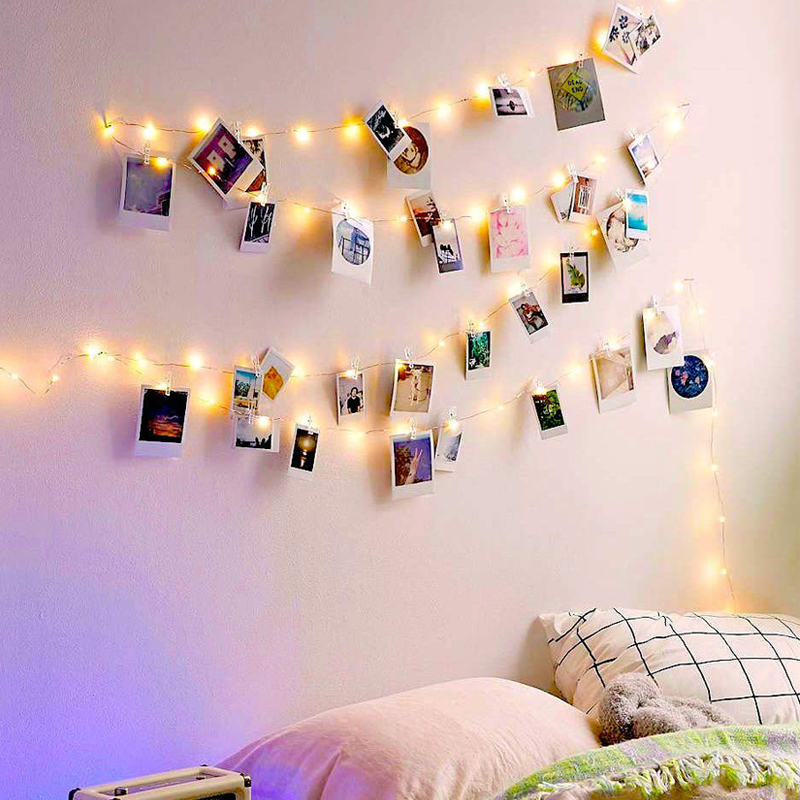 DIY Display Photo String Fairy Light with Photo Clips Bedroom Wall Deco LED Light for Hanging Pictures Holiday Cards handbag