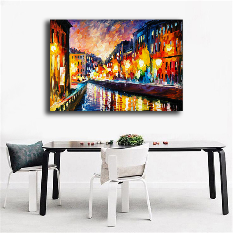 100%Handmade Modern Palette Knife River City Oil Painting On Canvas Art Pictures For Room Decor Wall Paintings Picture