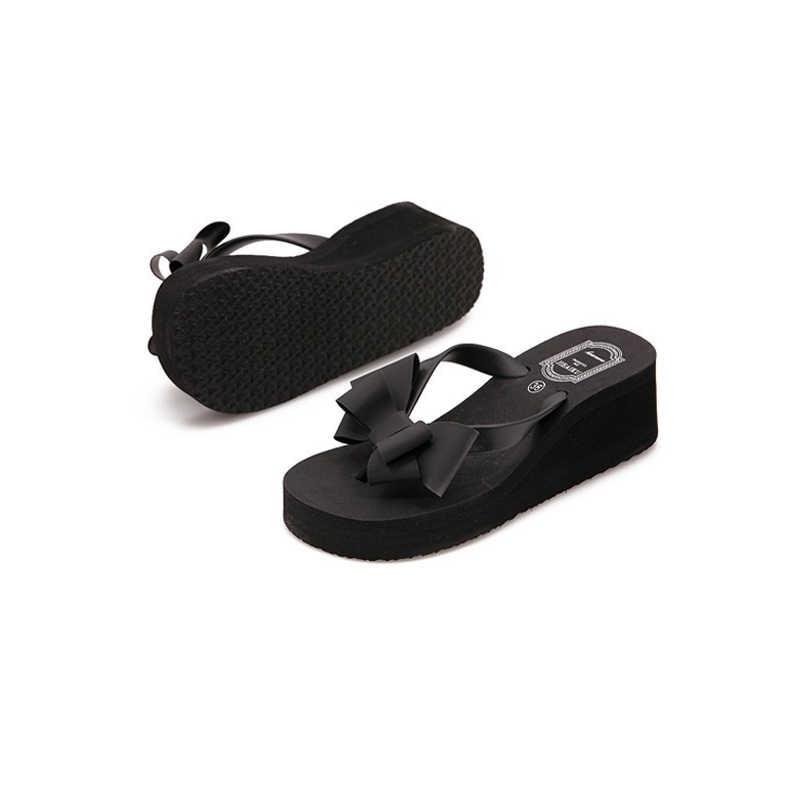 XEK Yeni Moda Yaz Kadın Platformu Yüksek Topuk Çevirme Plaj Sandalet Ilmek Terlik Kadın Ayakkabı Size36-40 Seçim Için WFQ61