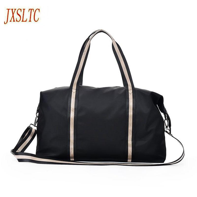 JXSLTC Large Capacity Nylon Travel Bags Big Tote stripe Male Crossbody Bag Handbag Casual Men Hand Luggage Travel Duffle Bag