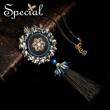 Special New Maxi Necklace Natural Opal Multi-layer Necklaces & Pendants Long Tassle  for Girls Women XL150926