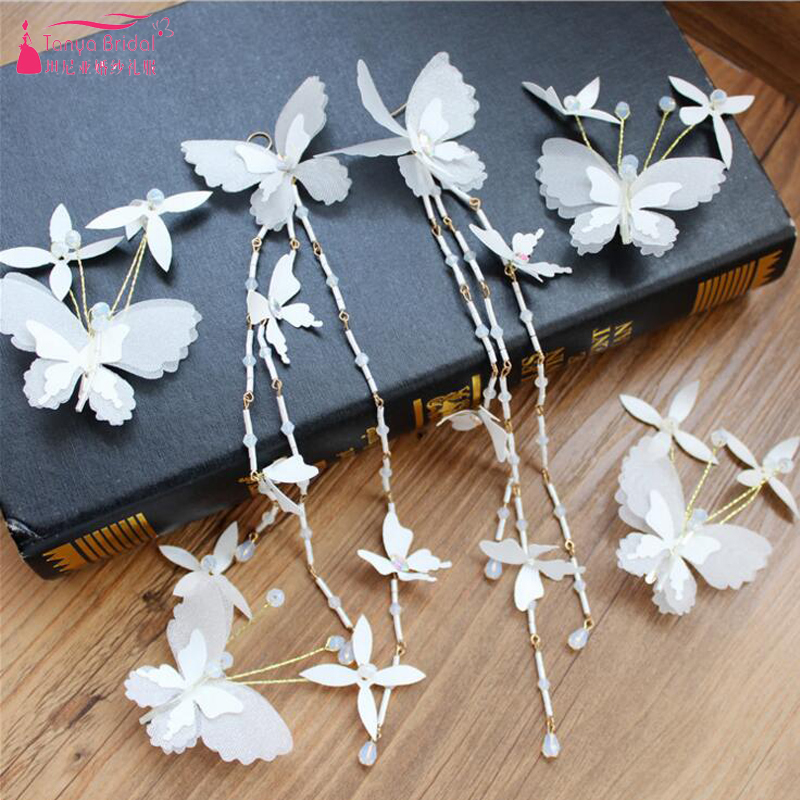 Pure White Bridal Wedding Accessories butterfly Feather Headwear Fairy Women Party Hairpiece China In Stock ZH026