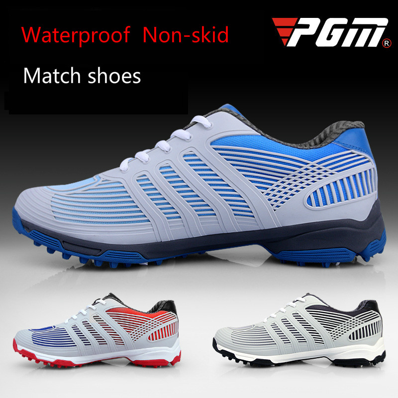 PGM new golf shoes men's waterproof shoes anti skid patent golf sports shoes pgm genuine golf shoes men s double patent golf shoes high performance anti collision exoskeleton anti skid soles