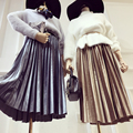 Promoción de Poliéster Spandex Saia 2016 Nueva Falda Plisada Falda de cuero europa Y La Tendencia De Piel de Venado Solapa Color Puro órgano