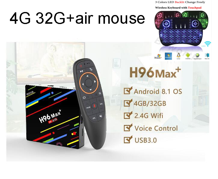 h96 max optional i8 air mouse 4G+32G RK3328 Android 8.1 TV Box2.4/5 GHz Wifi H.265 Smart set top box