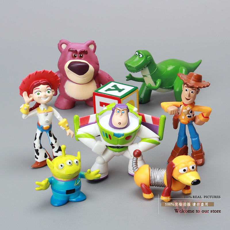 8pcs/set Cute Toy Story 3 Buzz Lightyear Woody Jessie Lotso Mini PVC Action Figure Model Toys Dolls Christmas Gifts DSFG067 hot new 1pcs 18cm toy story 3 woody action figures pvc action figure model toys christmas gift toy